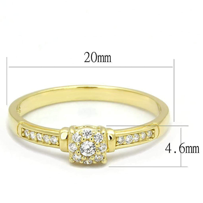 Ring TS597 Gold 925 Sterling Silver Ring with AAA Grade CZ in Clear angelucci-jewelry