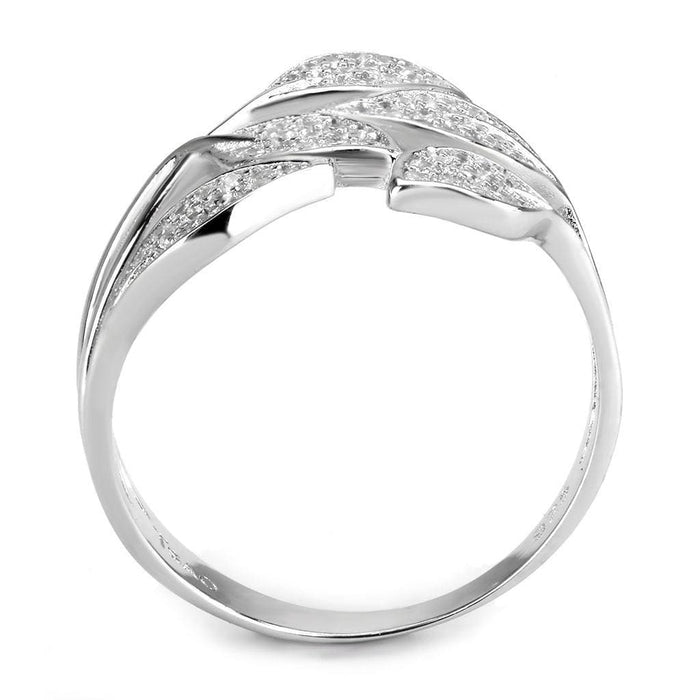 Ring TS618 Rhodium 925 Sterling Silver Ring with AAA Grade CZ in Clear angelucci-jewelry