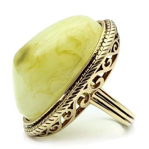 Ring VL005 IP Gold(Ion Plating) Brass Ring with Synthetic in Apple Green color angelucci-jewelry