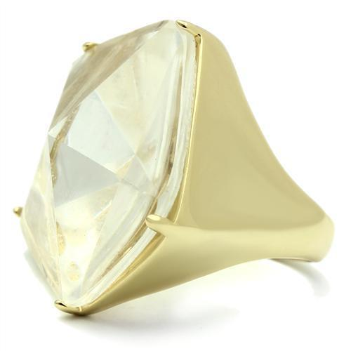 Ring VL007 Gold Brass Ring with Synthetic in Clear angelucci-jewelry