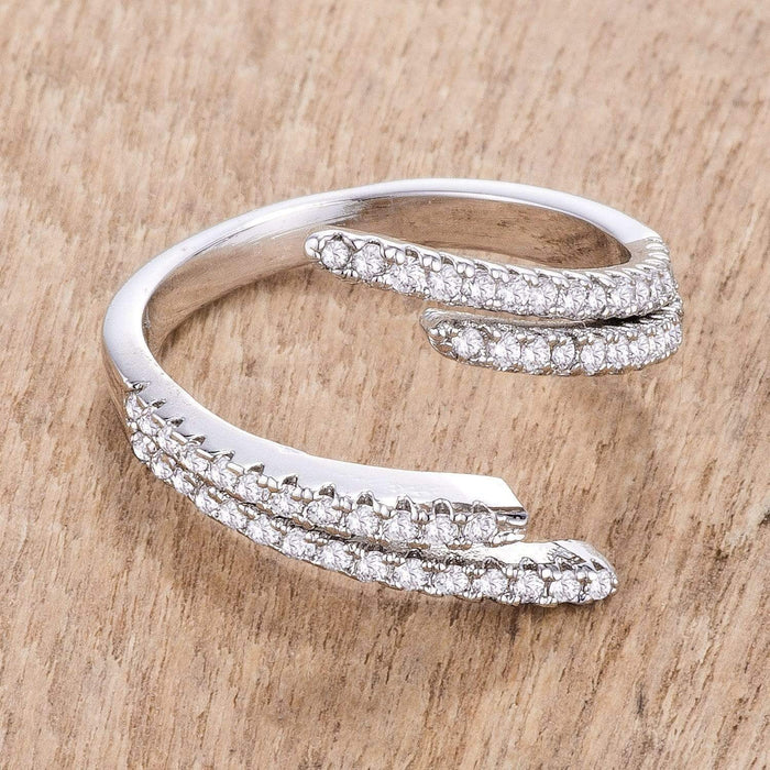 Rings 1.12Ct Delicate Rhodium Plated CZ Wrap Ring angelucci-jewelry