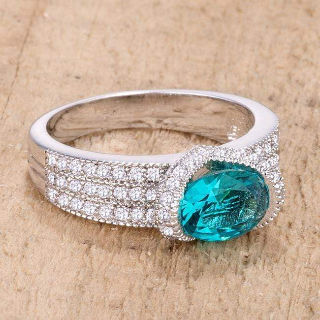 Rings 1.6 Ct Aqua Oval CZ Ring angelucci-jewelry