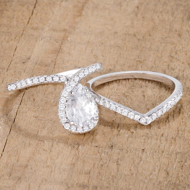 Rings 1.75Ct Rhodium Chevron Wedding Set With Clear CZ angelucci-jewelry