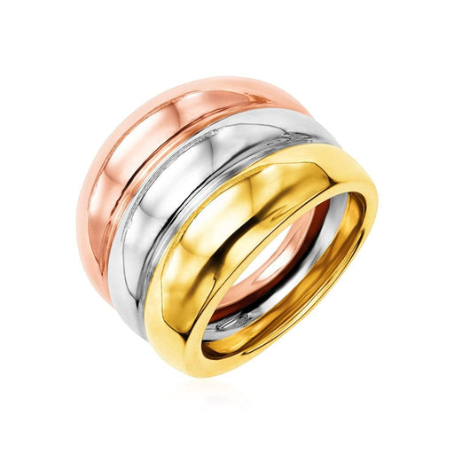 Rings 14k Tri-Color Gold Polished Cigar Band angelucci-jewelry