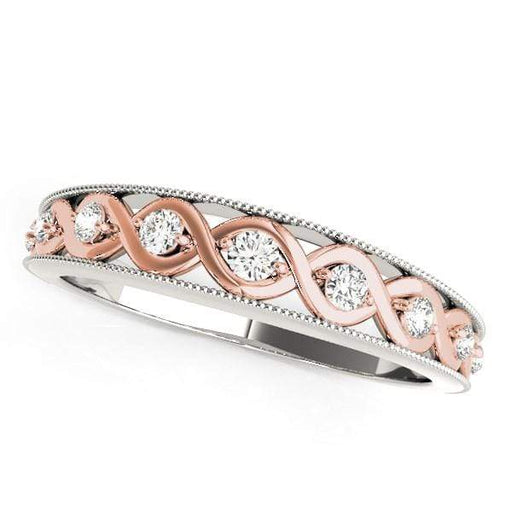 Rings 14k White And Rose Gold Infity Diamond Wedding Band (1/8 cttw) angelucci-jewelry