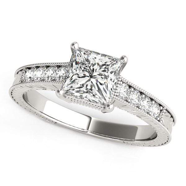 Rings 14k White Gold Antique Style Diamond Engagement Ring (1 1/8 cttw) angelucci-jewelry