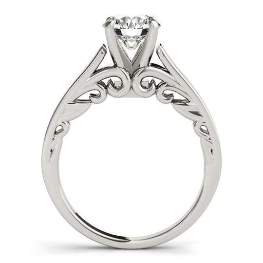 Rings 14k White Gold Antique Style Solitaire Round Diamond Engagement Ring (1 cttw) angelucci-jewelry