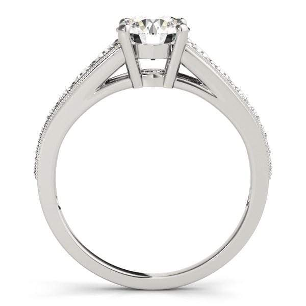 Rings 14k White Gold Antique Tapered Shank Diamond Engagement Ring (1 3/8 cttw) angelucci-jewelry