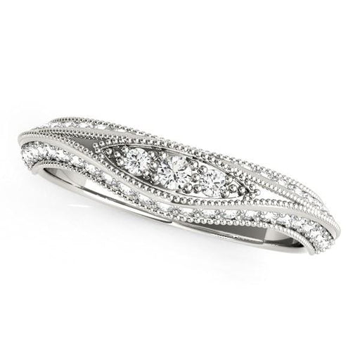Rings 14k White Gold Curved Antique Style Diamond Wedding Ring (1/3 cttw) angelucci-jewelry