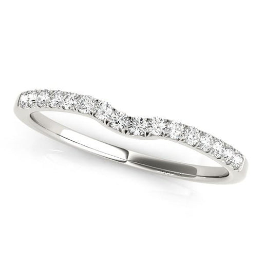 Rings 14k White Gold Curved Pave Setting Diamond Wedding Ring (1/8 cttw) angelucci-jewelry