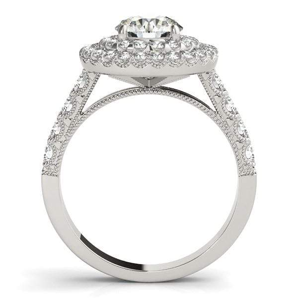 Rings 14k White Gold Diamond Engagement Ring with Double Pave Halo (2 5/8 cttw) angelucci-jewelry