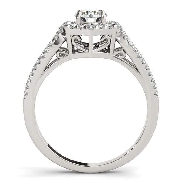 Rings 14k White Gold Diamond Engagement Ring with Hexagon Halo Border (7/8 cttw) angelucci-jewelry