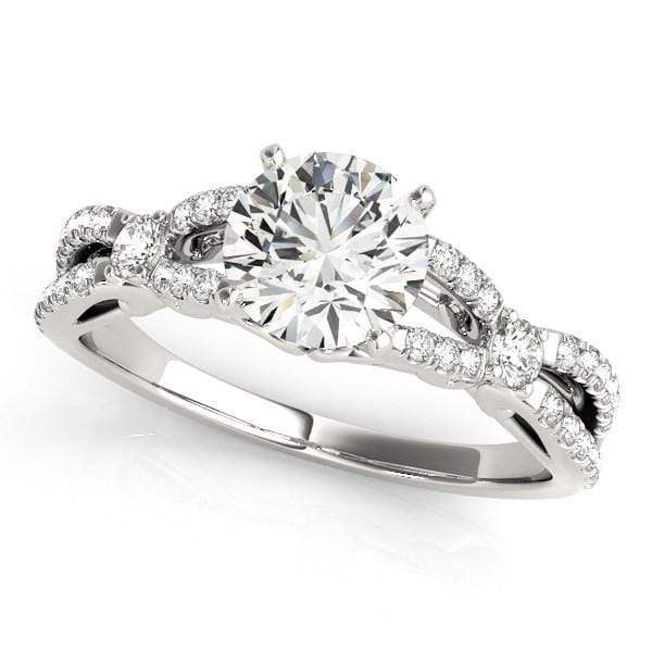 Rings 14k White Gold Diamond Engagement Ring with Multirow Split Shank (1 1/4 cttw) angelucci-jewelry