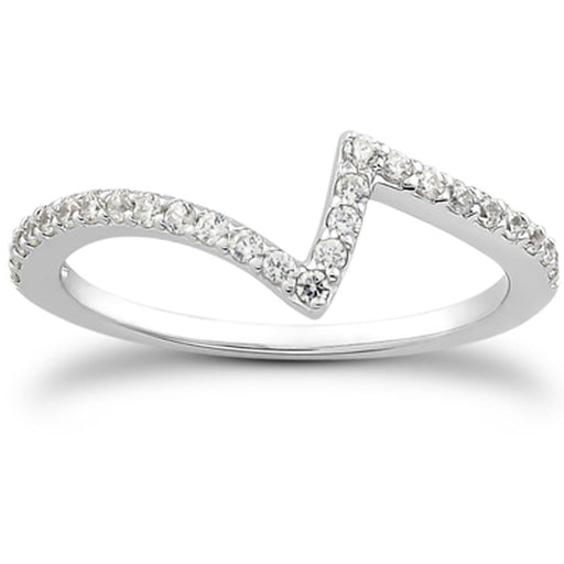 Rings 14k White Gold Fancy Zig Zag Pave Diamond Wedding Ring Band angelucci-jewelry