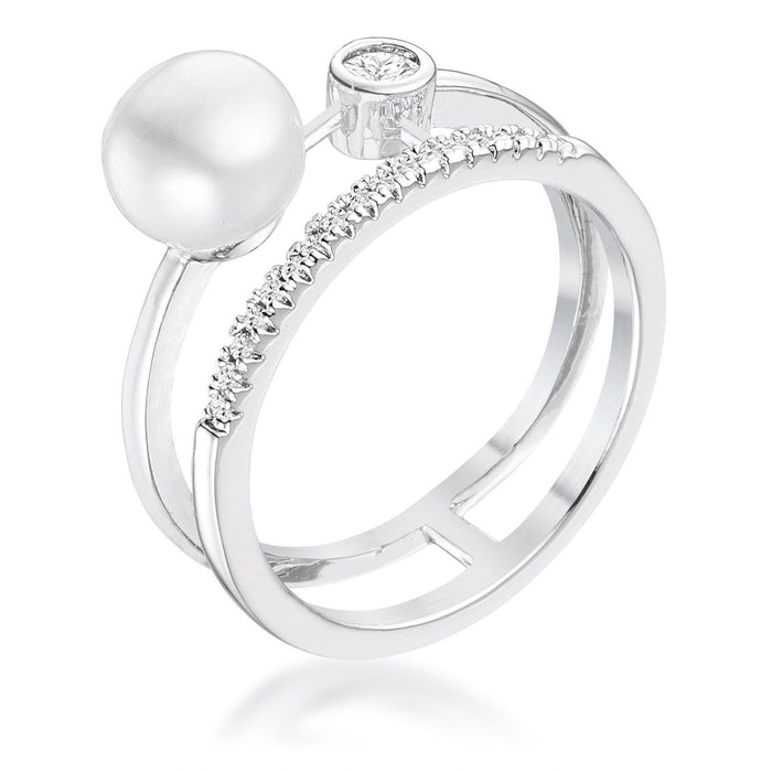 Rings .15Ct Rhodium Plated CZ and Freshwater Pearl Contemporary Double Band Ring angelucci-jewelry