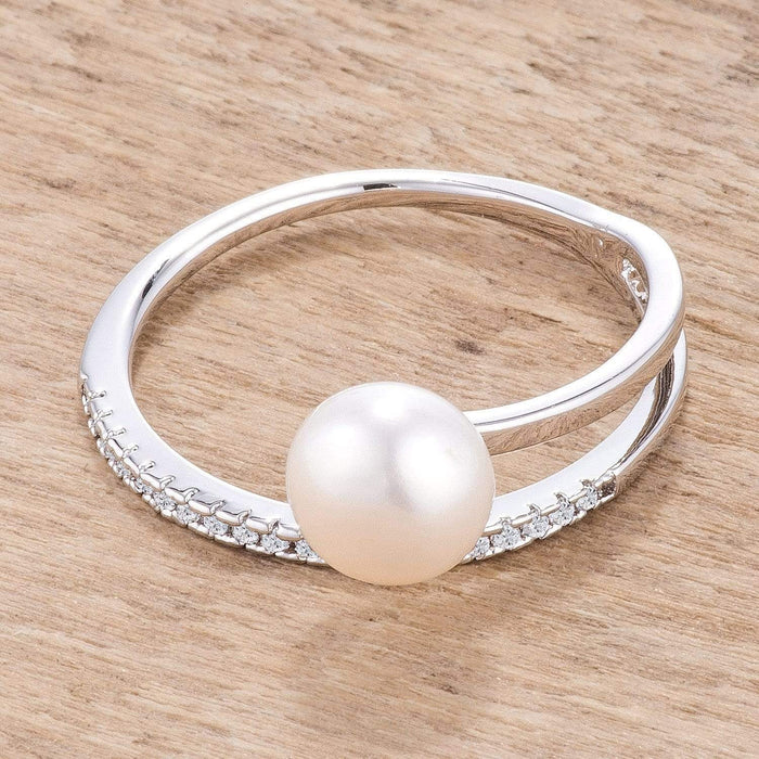 Rings .15Ct Rhodium Plated Freshwater Pearl Ring With CZ Micro Pave Band angelucci-jewelry