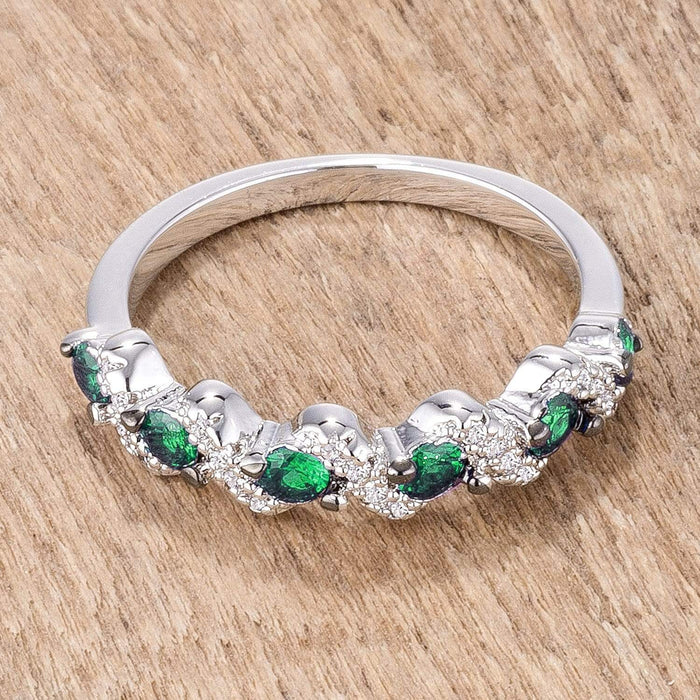 Rings .18Ct Rhodium and Hematite Plated S Shape Emerald Green and Clear CZ Half Eternity Band angelucci-jewelry