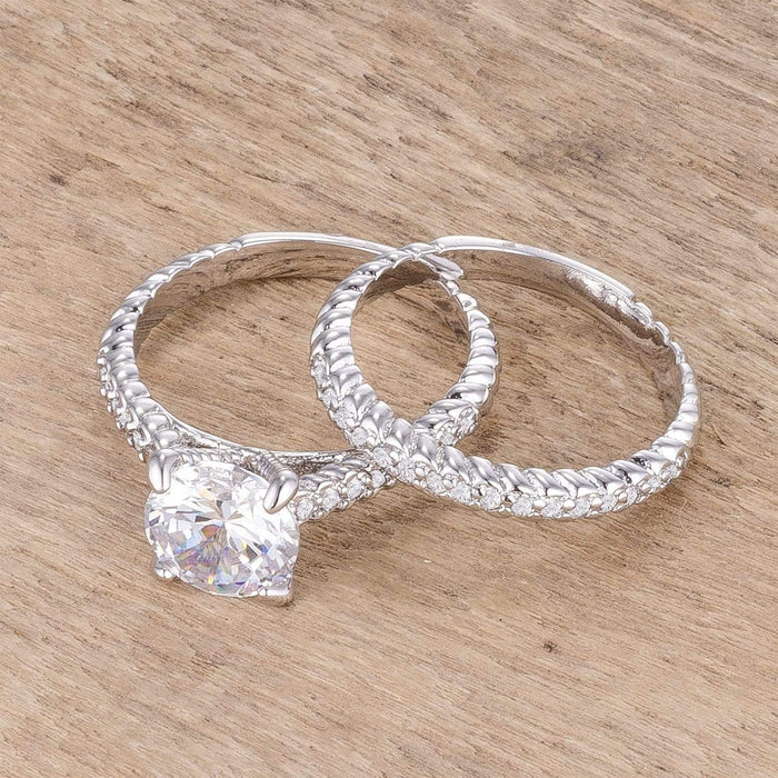 Rings 2.1Ct Rhodium Plated Baroque Style Wedding Set angelucci-jewelry