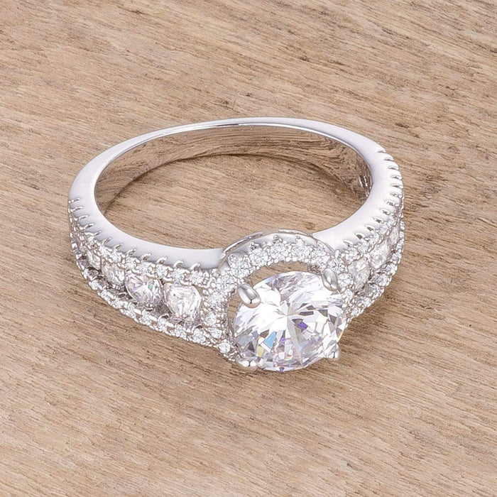 Rings 2.1Ct Rhodium Plated Solitaire Engagement Halo Ring CZ Cubic Zirconia angelucci-jewelry