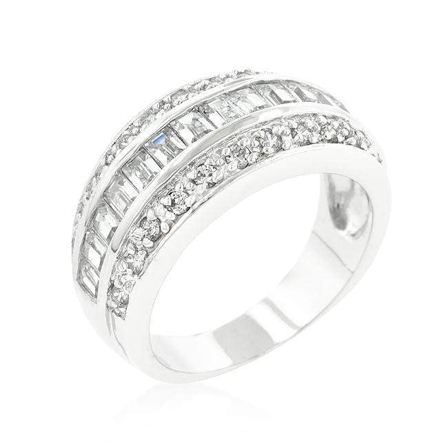 Rings 3-Row Cubic Zirconia Band angelucci-jewelry