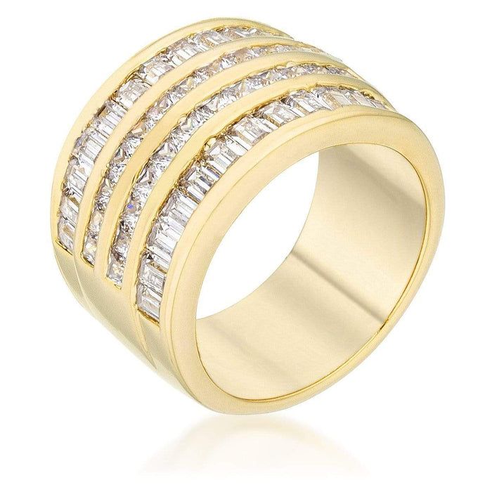 Rings 4 Row Gold Cubic Zirconia Cocktail Ring angelucci-jewelry