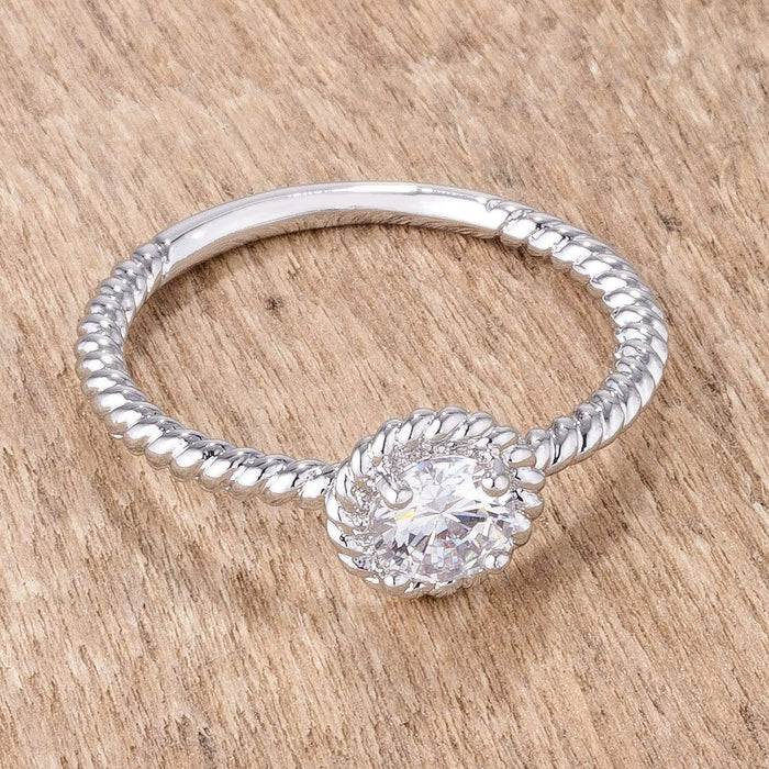 Rings .45Ct Rhodium Plated Mini Twisted Rope CZ Solitaire Ring angelucci-jewelry