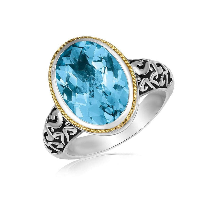Rings 6 18k Yellow Gold and Sterling Silver Oval Milgrained Blue Topaz Ring angelucci-jewelry