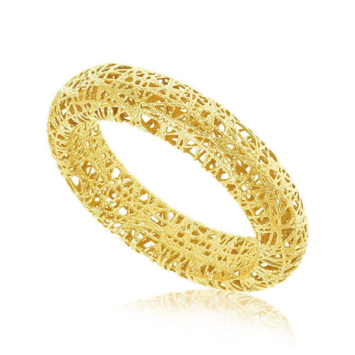 Rings 7 14k Yellow Gold Wire Mesh Tube Style Ring angelucci-jewelry