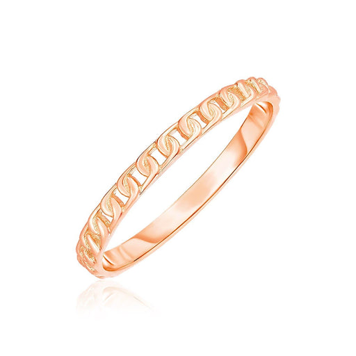Rings 7 / Rose gold 14k Rose Gold Ring with Bead Texture angelucci-jewelry