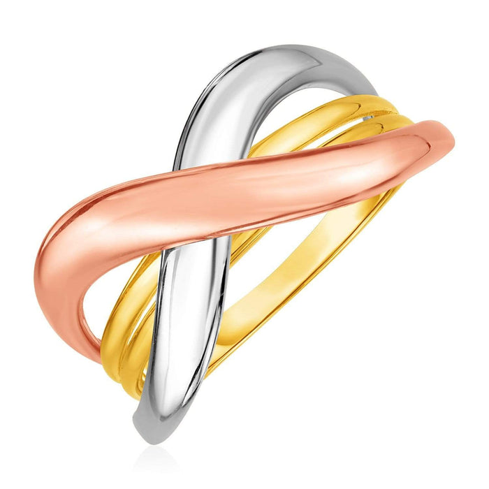 Rings 7 / Tri color gold 14k Tri-Color Gold Crossover Ring angelucci-jewelry