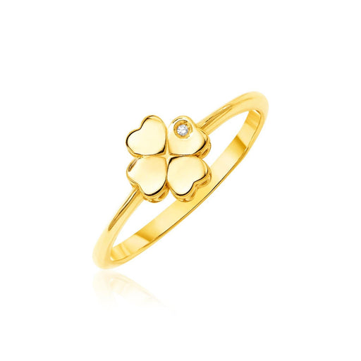 Rings 7 / Yellow gold 14k Yellow Gold Polished Four Leaf Clover Ring with Diamond angelucci-jewelry