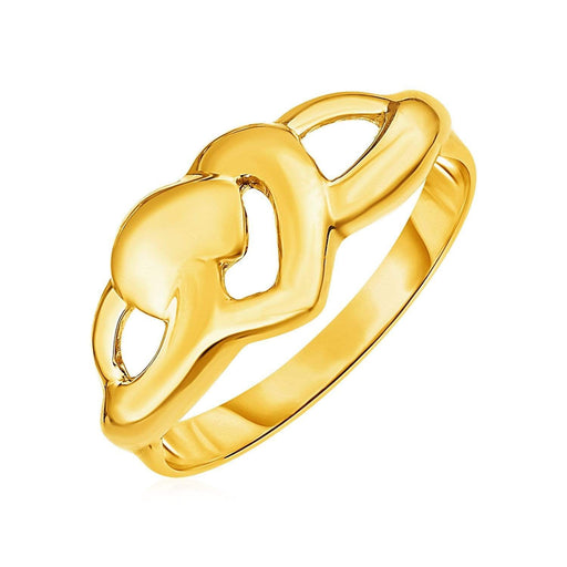 Rings 7 / Yellow gold 14k Yellow Gold Ring with Polished Open Heart angelucci-jewelry