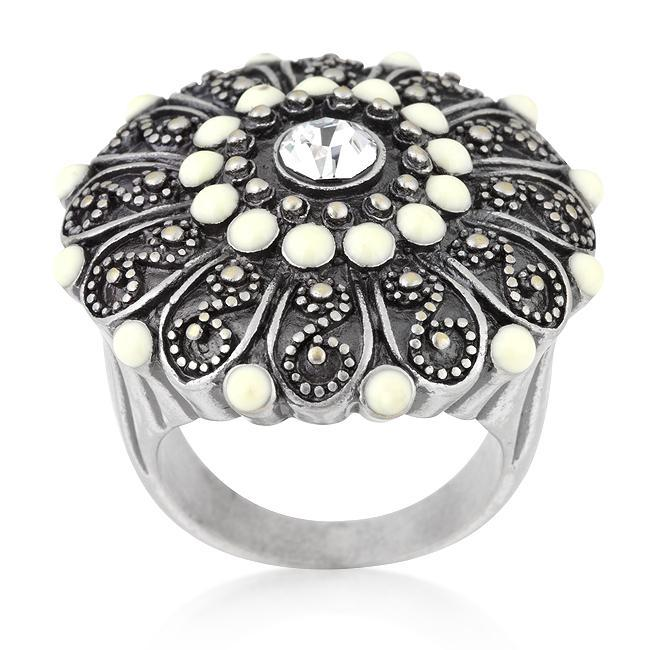 Rings Antique Silver Crest Ring II angelucci-jewelry