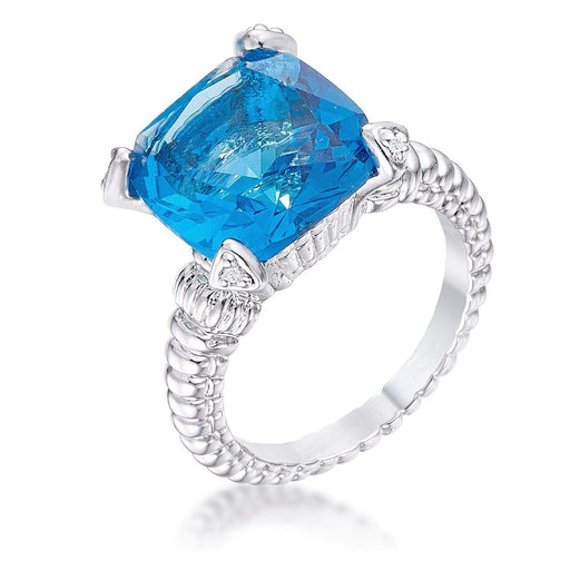 Rings Aqua Cushion CZ Cubic Zirconia Engagement Ring angelucci-jewelry