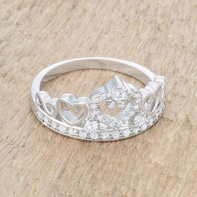 Rings Aurora 0.34ct CZ Rhodium Heart Crown Ring angelucci-jewelry