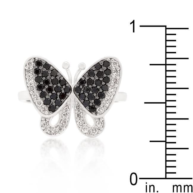 Rings Black and White Cubic Zirconia Butterfly Ring angelucci-jewelry