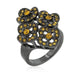 Rings Black Mystique Yellow Crystal Floral Ring angelucci-jewelry