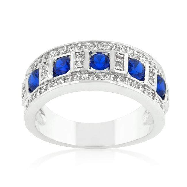 Rings Blue and Clear Encrusted Rhodium Plated Ring angelucci-jewelry