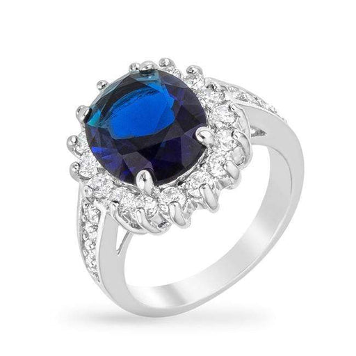 Rings Blue Cambridge CZ Cubic Zirconia Elegance Ring angelucci-jewelry