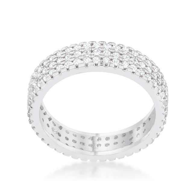 Rings Chare 1.3ct CZ Rhodium Classic Band Ring angelucci-jewelry