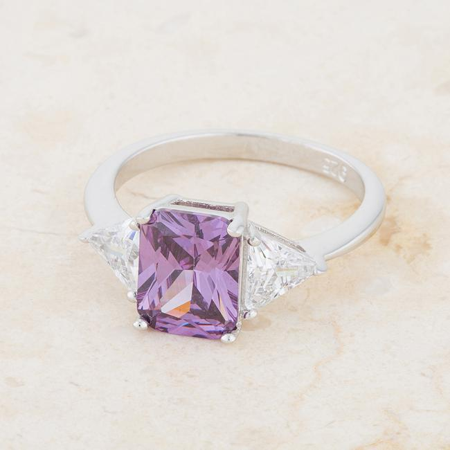 Rings Classic Amethyst Sterling Silver CZ Cubic Zirconia Engagement Ring angelucci-jewelry