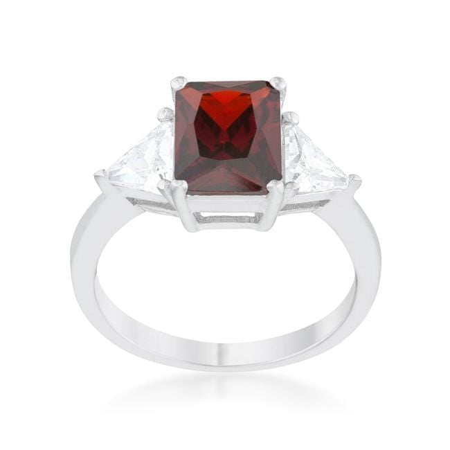 Rings Classic Garnet Rhodium CZ Cubic Zirconia Engagement Ring angelucci-jewelry