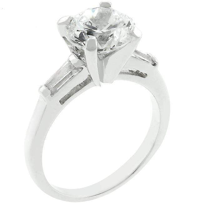 Rings Classic Triple White CZ Cubic Zirconia Engagement Ring angelucci-jewelry