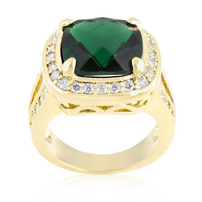 Rings Cushion Cut Emerald Green Cocktail Ring angelucci-jewelry
