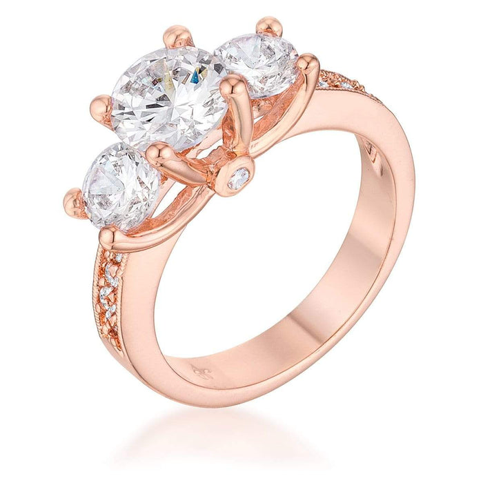 Rings Dazzling Three Stone Engagement Ring with CZ angelucci-jewelry