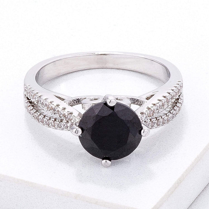 Rings Delicate Pave Shoulder Black CZ Ring angelucci-jewelry