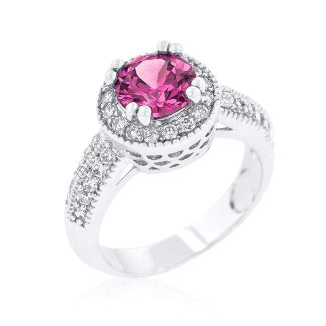 Rings Fuchsia Halo Engagement Ring angelucci-jewelry