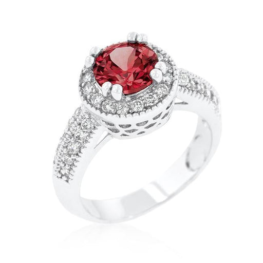 Rings Garnet Halo Engagement Ring angelucci-jewelry