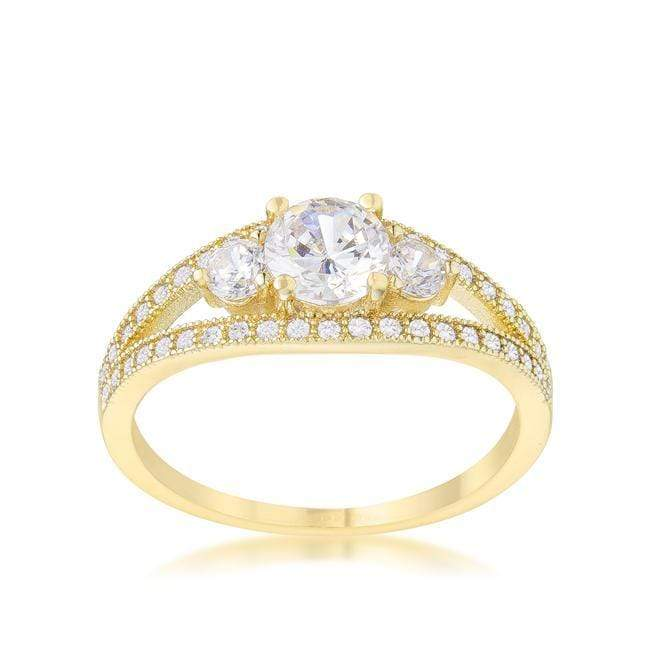 Rings Genna 1.1ct CZ 14k Gold Delicate Classic Ring angelucci-jewelry