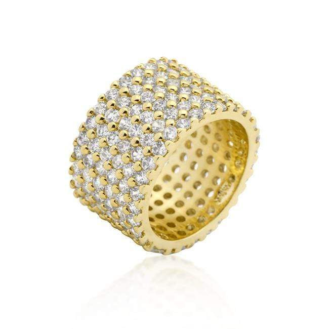 Rings Goldtone Finishd Wide Pave Cubic Zirconia Ring angelucci-jewelry